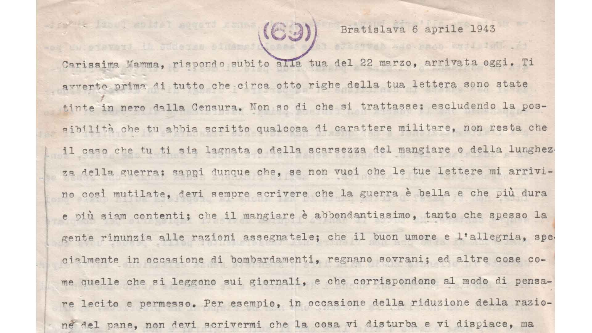 Letter from Alfredo Alessio to his mother Elvira, 6th April 1943 (ACS, MI, A5G, 2GM, b.34)