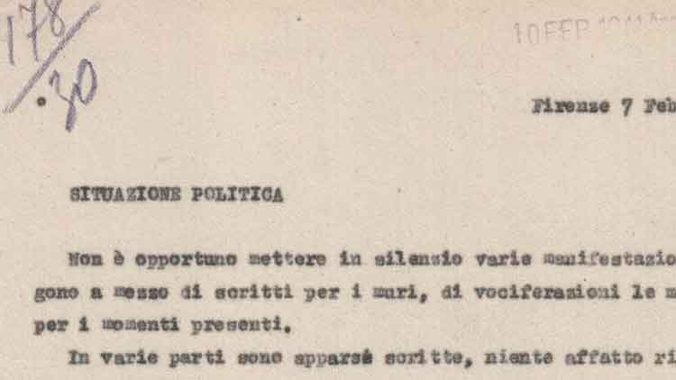 "Informer's report on the ""public mind"" in Florence, 7th February 1941 (ACS, MI, DGPS, PP, b. 230)"