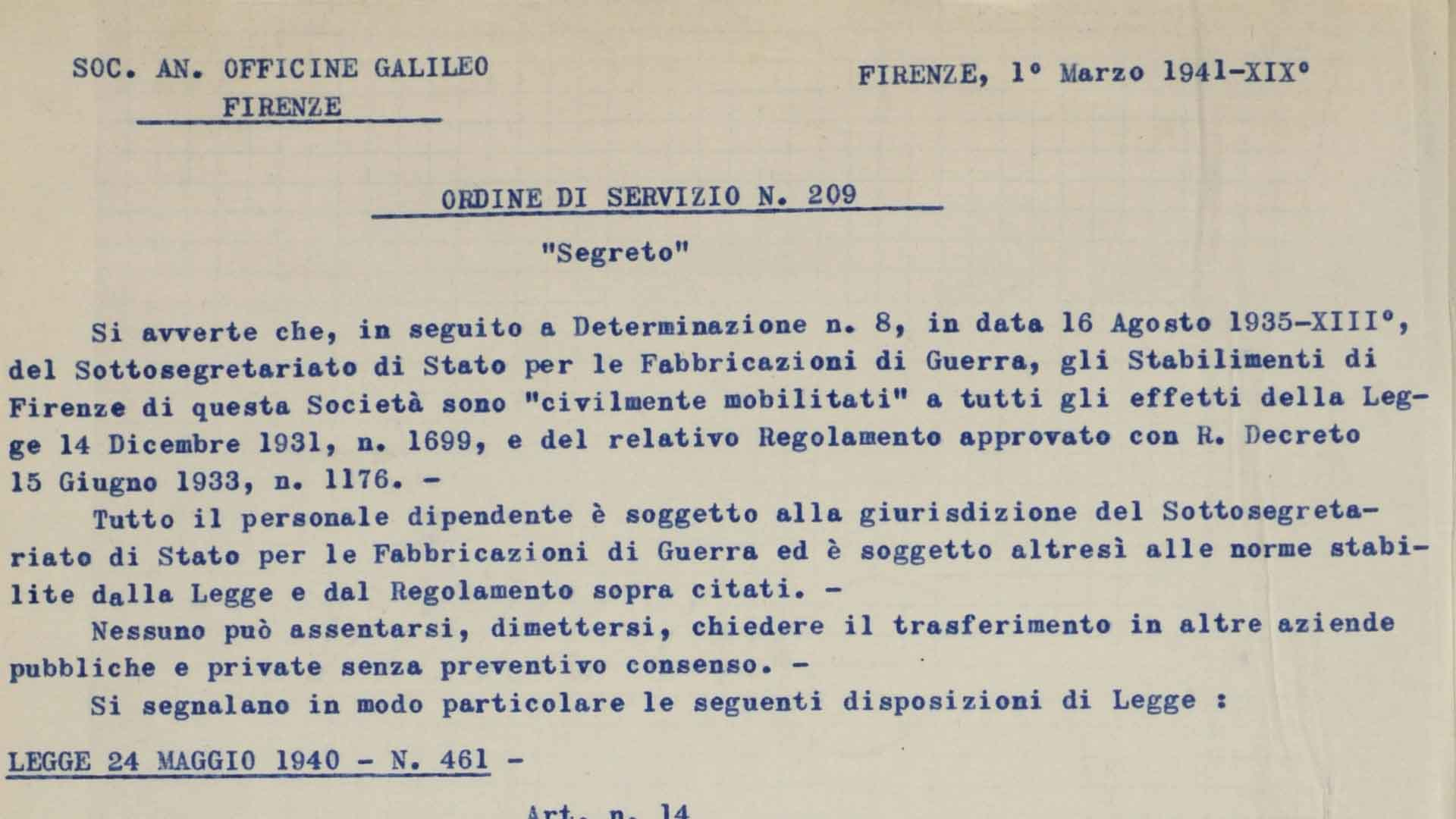 "Rules of conduct for the workers of the Galileo factory, declared ""civilly mobilized"", 1st March 1941 (ASFi)"