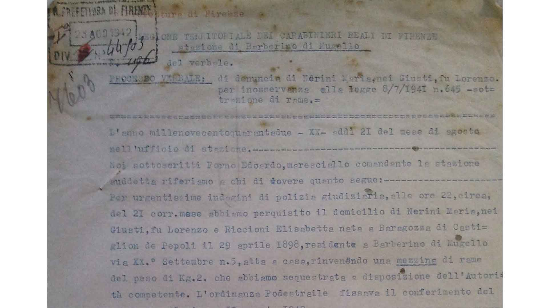 Police report on the requisition of a copper jug belonging to Maria Nerini, Barberino di Mugello, 21th August 1942