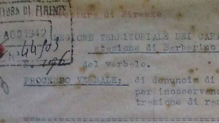 Police report on the requisition of a copper jug belonging to Maria Nerini, Barberino di Mugello, 21th August 1942 (ASFi)